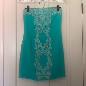 Green cream strapless dress